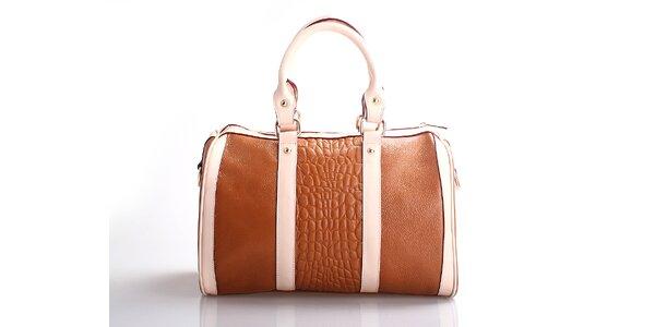 Dámská hnědá kabelka Belle & Bloom s růžovými proužky