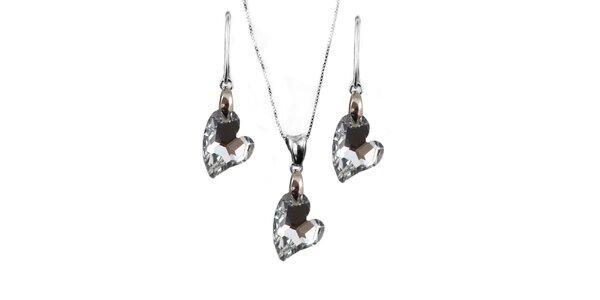 Set náušnice + přívěsek + řetízek s krystaly Swarovski Elements - srdce ve…