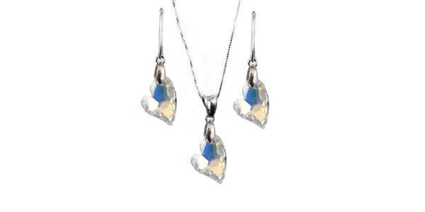Set náušnice + přívěsek + řetízek s krystaly Swarovski Elements - srdce…