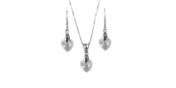 Set náušnice + přívěsek + řetízek s krystaly Swarovski Elements - srdíčka čiré…