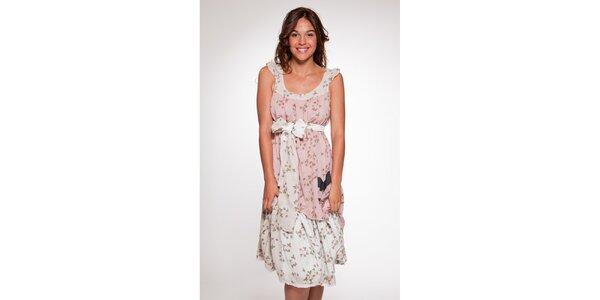 Dámské bílo-růžové vzorované šaty Ian Mosh