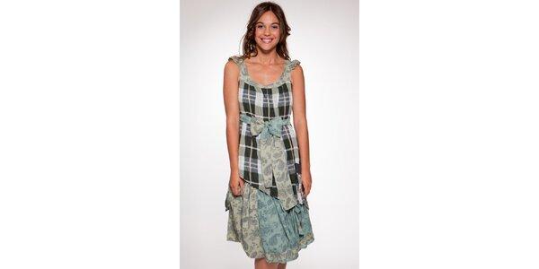 Dámské zeleno-krémové vzorované šaty Ian Mosh