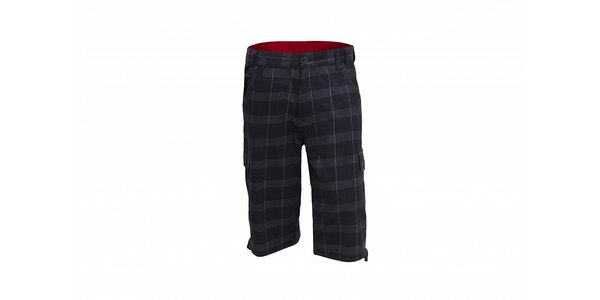 Pánské tmavě šedé šortky Envy s červenými kostkami