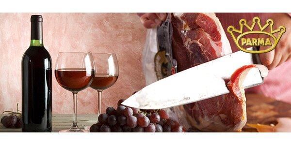 0,5 kg pravé parmské šunky a litr vína