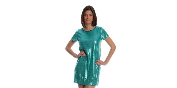 Dámské tyrkysové metalické šaty cristian Lay