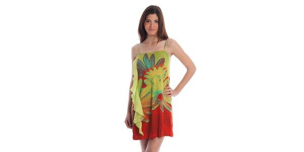 Dámské zeleno-červené šaty Cristian Lay s velkými květy