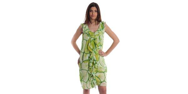Dámské světle zelené šaty Cristian Lay s citrusy