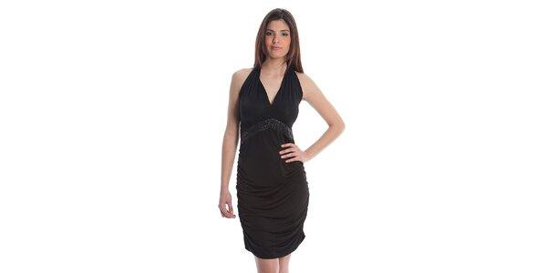 Dámské černé koktejlové šaty Cristian Lay s kamínky