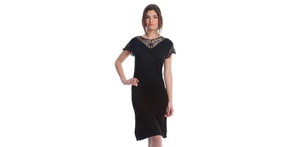 Dámské černé šaty Cristian Lay s krajkou