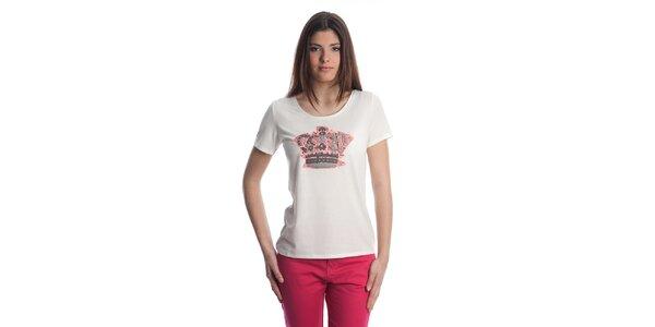 Dámské bílé tričko cristian Lay s korunkou