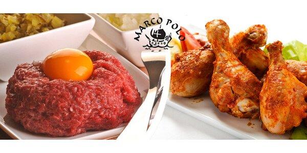 Tataráček a marinované kuřecí špalíky u Marca Pola