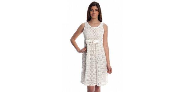 Dámské bílé krajkové šaty Cristian Lay