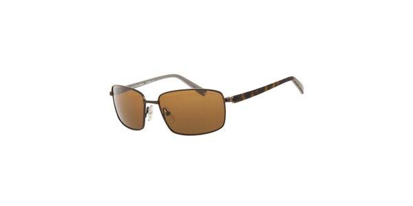 Pánské hnědé sluneční brýle Calvin Klein s polarizovanými skly