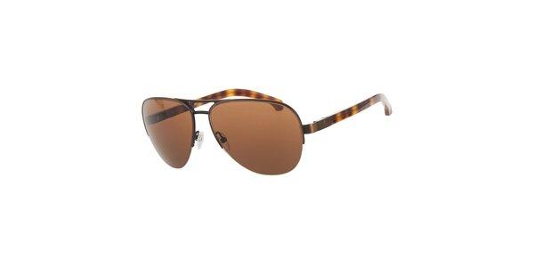 Pánské hnědo-jantarové žíhané sluneční brýle Calvin Klein