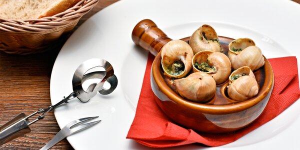 Francouzsky laděné menu se šneky i kachničkou