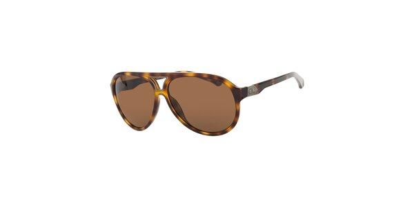 Pánské jantarové žíhané sluneční brýle Calvin Klein s hnědými skly