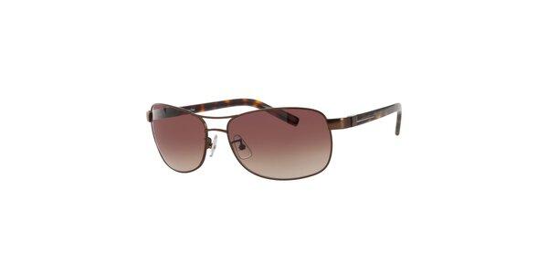 Dámské tmavě hnědé sluneční brýle Calvin Klein s žíhanými stranicemi