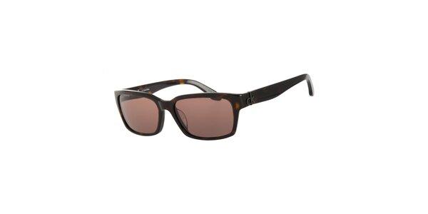 Dámské tmavě hnědé želvovinové sluneční brýle Calvin Klein