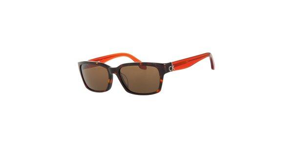 Dámské oranžovo-hnědé sluneční brýle Calvin Klein