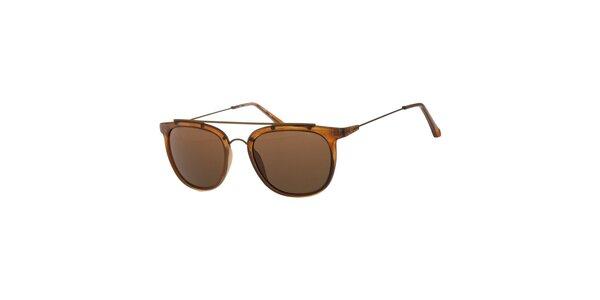 Dámské karamelově hnědé sluneční brýle Calvin Klein s kovovými detaily