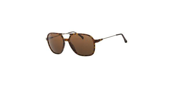 Dámské hnědé žíhané sluneční brýle Calvin Klein s kovovými detaily