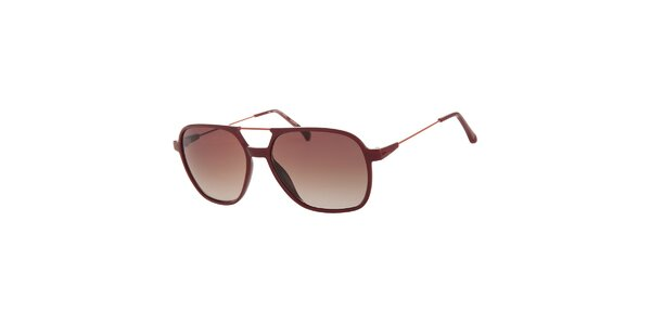 Dámské tmavě červené sluneční brýle Calvin Klein s kovovými detaily…