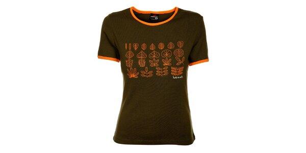 Dámské khaki tričko Hannah s oranžovým potiskem