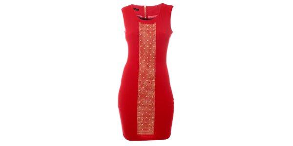 Dámské červené šaty Via Bellucci se zlatými cvoky