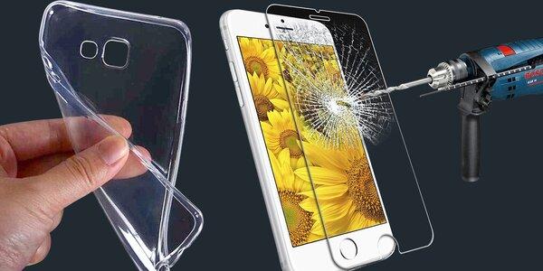 Silikonové pouzdro a tvrzené sklo na různé telefony