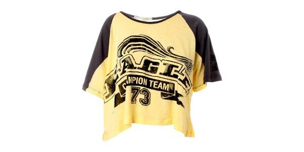 Dámské žluto-šedé tričko Santa Barbara s potiskem