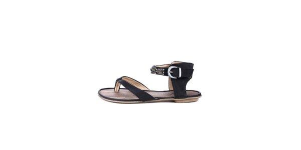 Dámské černé žabkové sandálky s etno prvky Maria Mare