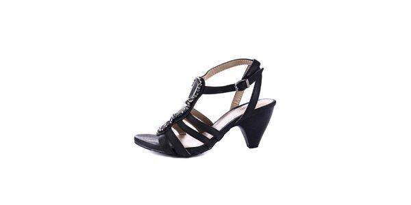 Dámské černé sandálky na podpatku Maria Mare