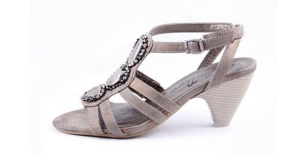 Dámské bronzové sandálky na podpatku Maria Mare