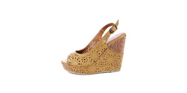 Dámské žluté sandálky na platformě Maria Mare