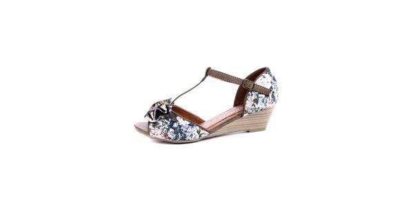 Dámské hnědé květované sandálky na nízkém podpatku Maria Mare