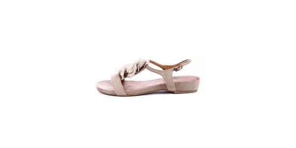 Dámské béžové semišové sandálky s šifónovými detaily Maria Mare
