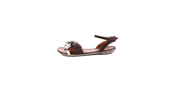 Dámské hnědé sandálky s bílými kytičkami Maria Mare