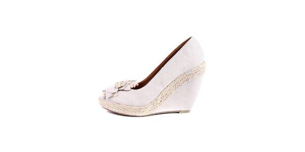 Dámské bílo-krémové boty na klínku Maria Mare