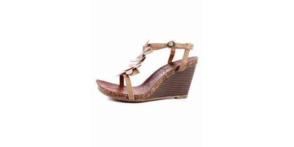 Dámské béžové sandálky s korkovou platformou Maria Mare