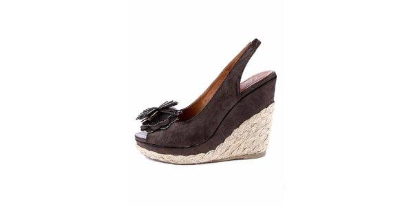 Dámské tmavě hnědé sandálky s jutovou platformou Maria Mare