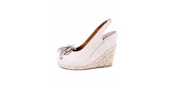 Dámské krémové sandálky s jutovou platformou Maria Mare