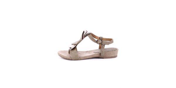 Dámské krémovo-béžové semišové sandálky Maria Mare