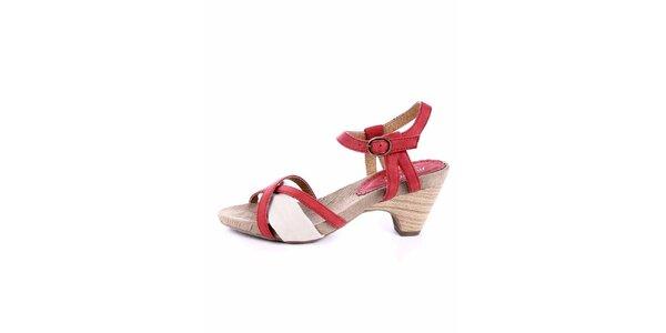 Dámské červeno-krémové sandálky Maria Mare