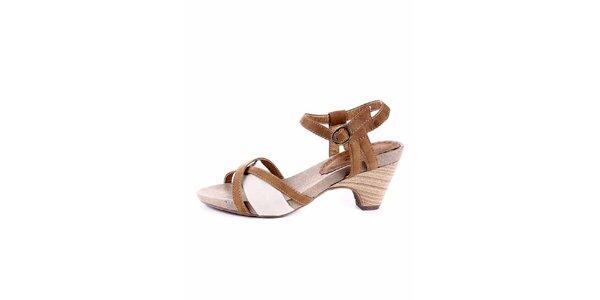 Dámské karamelovo-krémové sandálky Maria Mare