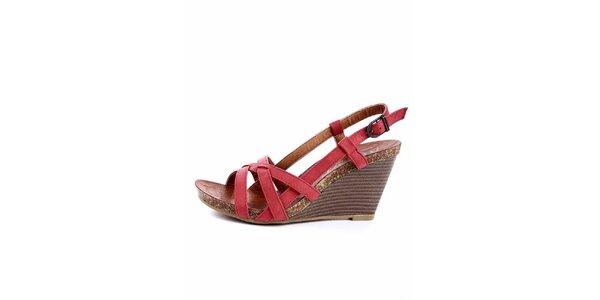 Dámské červené sandálky s korkovou platformou Maria Mare