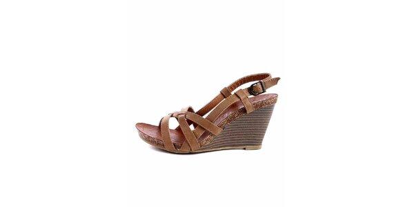 Dámské světle hnědé sandálky s korkovou platformou Maria Mare