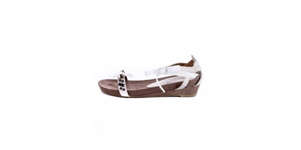 Dámské krémové sandále s kamínky Maria Mare