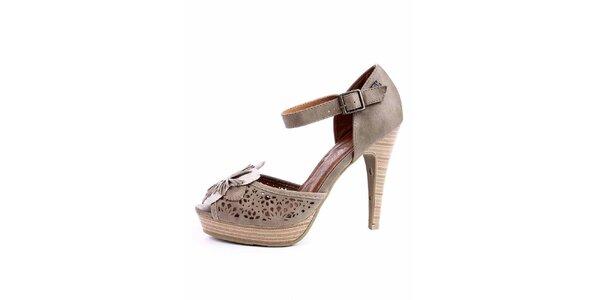 Dámské šedo-béžové sandálky s perforací a květinou Maria Mare