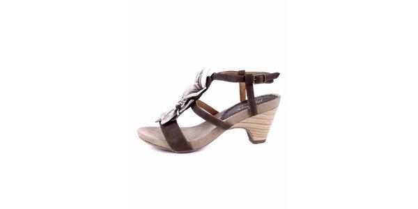 Dámské hnědo-bílé sandálky na podpatku Maria Mare