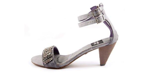 Dámské nachové sandálky s dvojitým páskem a kamínky Maria Mare